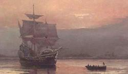 The Pilgrim Fathers arrive at Massachusetts