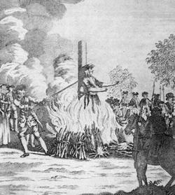 Last execution by burning in Britain